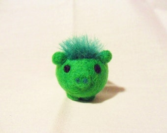Needle Felted Pig -  miniature green pig figure - 100% merino wool - wool felt pig - wool pig - green pig