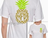 Adult * Glitter Pineapple* *Double sided* short sleeve shirt