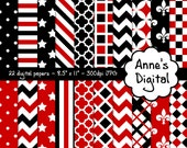 "Red and Black Digital Papers - Matching Solids Included - 22 Papers - 8.5"" x 11"" - Instant Download - Commercial Use (005)"