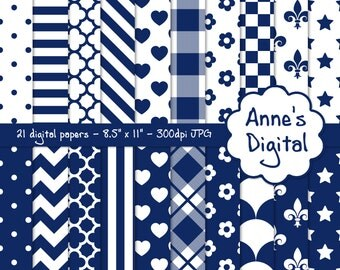 "Blue and White Digital Papers - Matching Solid Included - 21 Papers - 8.5"" x 11"" - Instant Download - Commercial Use (011)"
