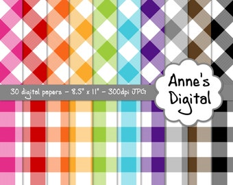 "Gingham Digital Papers - Matching Solids Included - 30 Papers - 8.5"" x 11"" - Instant Download - Commercial Use (040)"
