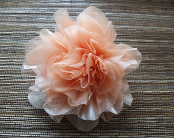 Coral Organza Flower Brooch, PeachFabric flower, Sash Flower, Headpiece, Dress accessories