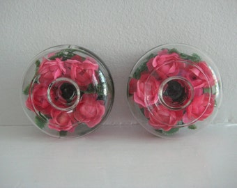 vintage glass candle holders / Hong Kong - glass globe - dome shape - plastic roses - pink - tabletop - table decor - mid century