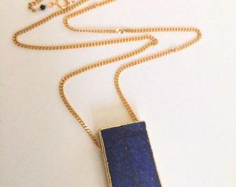 lapis lazuli Pendant necklace on a Long Gold filled chain, Large Pendant necklace, Gold necklace, L