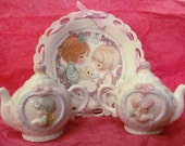 VALENTINESALE Precious Moments Tea Pot Salt and Pepper Shakers with Ribbon Laced Plate