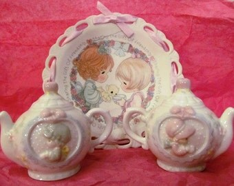 Vintage Precious Moments Tea Pot Salt and Pepper Shakers with Ribbon Laced Plate
