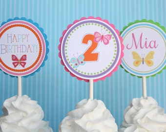 Butterfly Cupcake Toppers - Set of 12