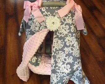 Grey damask and pink minky Car seat canopy with matching seat cover
