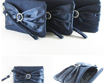 SUPER SALE - Set of 5 Navy with Navy Satin Bow Clutches - Rhinestone Bridal Clutches, Bridesmaid Wristlet, Wedding Gift - Made To Order