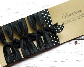 7 pcs Elastic Hair Tie -Black w/Black Silver Dots - Black Color Set - No Crease Hair Ties - Hair Ties -Toddler to Adult