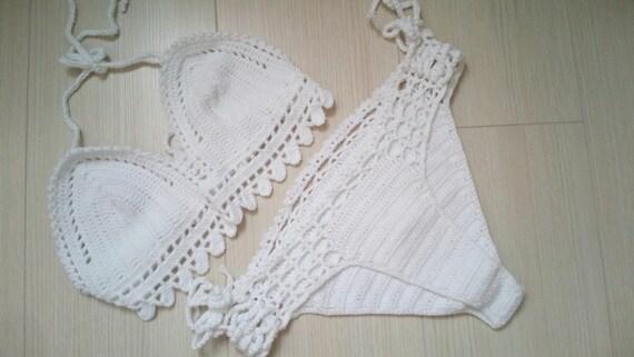bianco uncinetto bikini top e slip brasiliano costumi da bagno costume da bagno uncinetto
