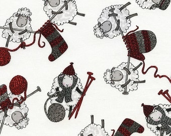 FUN-CF3589 Tossed Knitting Sheep for Timeless Treasures