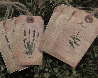 Primitive Herbs Mint & Lavender Hang Tags (Set of 6) FREE SHIPPING