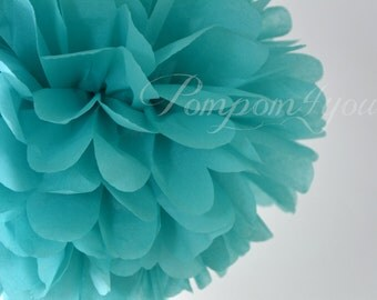 One Carribean Blue Tissue paper Pom Poms // Wedding Decorations // Party Decorations // Pom Poms