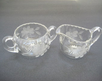 Sugar and Creamer, Cut Glass Sugar and Creamer, Floral Cut Glass Sugar and Creamer, Set Sugar and Creamer