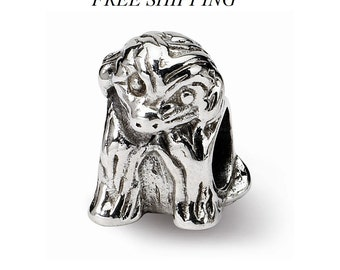 Sterling Silver Sitting Puppy Bead