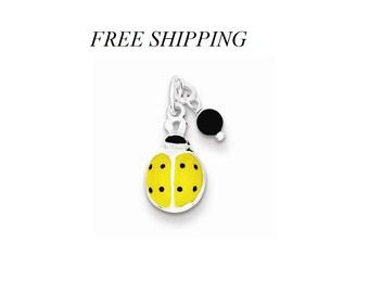 Sterling Silver Yellow Enameled Ladybug w/Bead Charm
