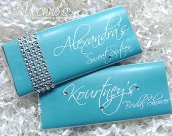 Aqua Blue -Teal/Turquoise Bling Candy Bar Wrapper - Chocolate Bar Favor - Wedding, Sweet Sixteen, Bridal Shower, Birthday, Aqua-Themed Event