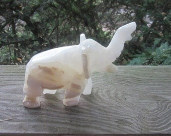 slag glass carved elephant figurine