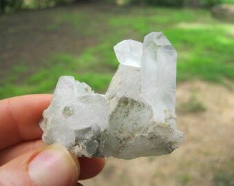 Raw Quartz Crystal Cluster, Meditation Stone, Twin Quartz Crystal Healing, Chakra Crystal, 55mm x 42mm, QS2