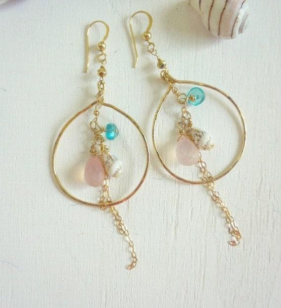 Items similar to Cute Sakura Gold Filled Hoop Earrings ...