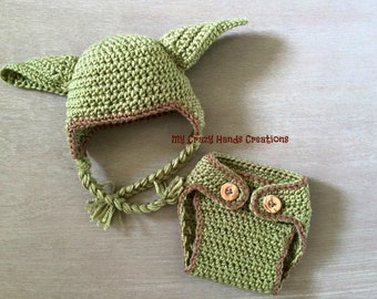 Star Wars baby Yoda hat and Diaper cover set