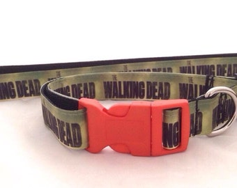 The Walking Dead dog collar and leash set perfect geek gift for your dog