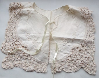 Antique Cotton Lace collar with ribbon