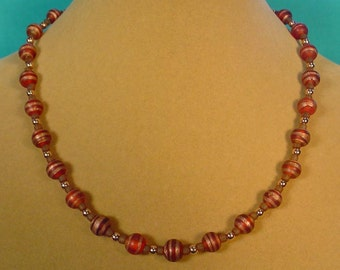 """Very pretty 17"""" Matte Glass and Copper Necklace - N386"""