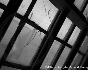 Alcatraz, Dining Hall Window,  Black and White Photography, Fine Art Photo Print