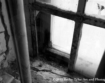 Alcatraz Window,  Black and White Photography, Fine Art Photo Print