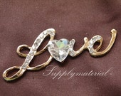 1PCS Bling crystal Golden Love symbol Flatback Alloy jewelry accessories materials supplies