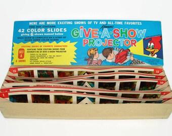 Give A Show Projector Slides 1961, 42 Color Slides in Original Box, Popeye, Woody Woodpecker, Buffalo Bill, Pinocchio, Annie Oakley