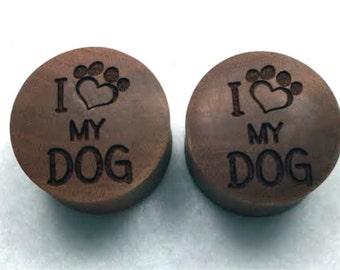 "Custom Handmade Organic ""I Love My Dog"" Wood Plugs - You choose wood type/color and size 7/16"" - 30mm"