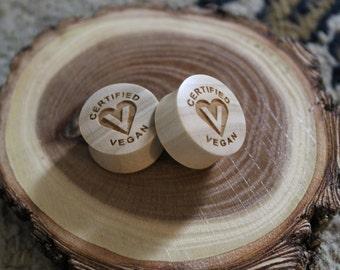 "Custom Handmade Organic ""Certified Vegan"" Wood Plugs - You choose wood type/color and size 7/16"" - 30mm"