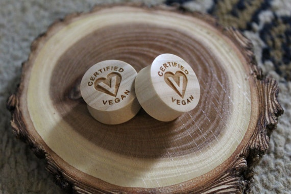 "Custom Handmade Organic ""Certified Vegan"" Wood Plugs - You choose wood type/color and size 7/16"" - 30mm"