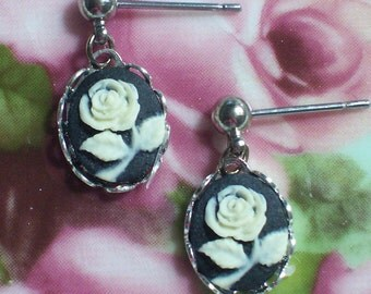 Black Cameo Dangle Earrings~Black with Cream Flower Design~Surgical Steel Posts