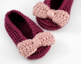 Crochet Ballet Slippers with Bows // Magenta and Pink // 3 to 6 Months