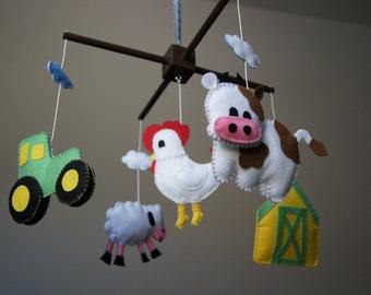 Baby Crib Mobile - Musical Baby Mobile - Felt Mobile - Nursery mobile - Funny Farm - Farm Mobile