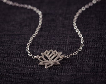 SALE! Lotus Necklace, Silver Necklace, Sterling Silver Lotus, Yoga Necklace, Yoga Jewelry