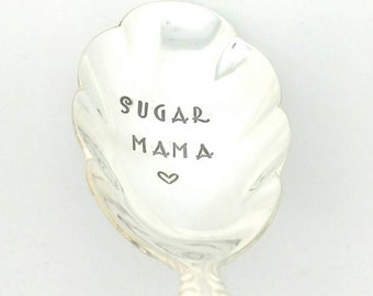 Sugar Mama-Hand Stamped Sugar Spoon -Sugar Spoon with Sweet Message -Gift for Girlfriend ,  Gift for wife, Gift for Her