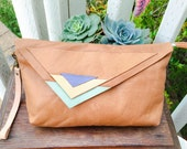 LAST ONE Soft Caramel leather handmade clutch purse lavender peach mint asymmetrical triangles southwest tribal clutch wristlet ooak upcycle
