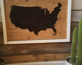 Framed customizable map of the U.S.