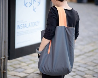 Double sided waterproof bag, shopper bag, oversized bag, two-sided tote bag, double-faced graphite orange, large bag on beach, colourful bag