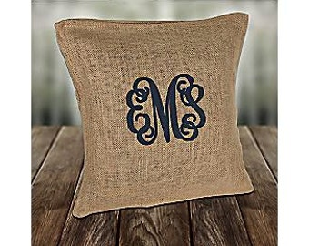Burlap Throw Pillowcase, blank or monogrammed