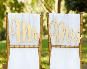 Mr and Mrs Sign Bride Groom Signs Chair Signs Wedding Chair Sign Classic Gold or Silver Wood Wedding Reception Chair Signs Set Wedding Signs
