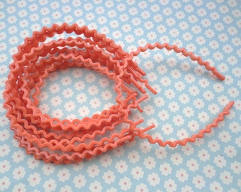 20 pcs orange  color the wave shape  plastic Headband 5mm Wide