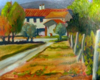 Tuscany Italy Vineyard Original Oil Painting 9x12 Italian Orange Green Blue Painting Wine Country Art Tuscan Vineyard Canvas Winery small