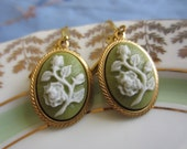 Vintage style floral olive cameo earrings shabby chic, victorian