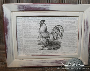 Distressed Frame with Vintage Inspired Newsprint Farmhouse Chicken Hen print 5 by 7